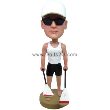 Personalized male kayak player bobblehead Bobbleheads