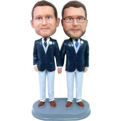 Custom Bobbleheads custom gay with tie wedding bobbleheads cake topper