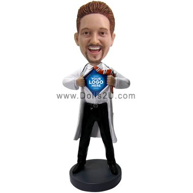 Personalized Male SuperHero Doctor Bobblehead Bobbleheads
