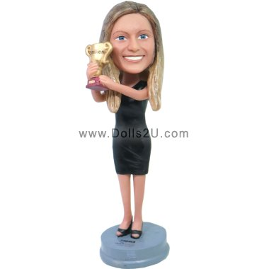 female holding a trophy Bobbleheads