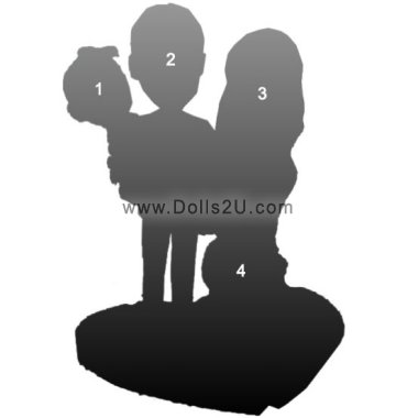 Customized Family bobbleheads for 4 people Bobbleheads