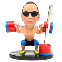 custom bodybuilding bobblehead pen holder