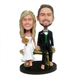 Custom Bobbleheads Couple Sitting On a Bench Wedding Bobbleheads
