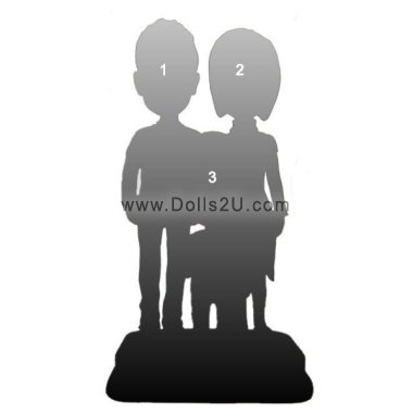 Fully customized Family bobbleheads for 3 people Bobbleheads