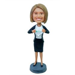 Businesswoman bobblehead - your logo on the chest