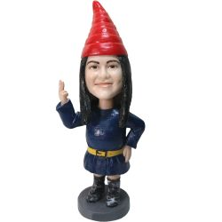 Personalized Female Garden Gnome Bobblehead