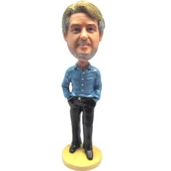 Custom Bobbleheads Casual Handsome Blue Shirt