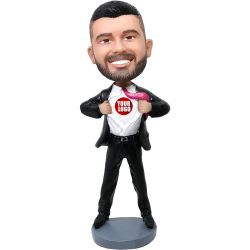 Custom Bobbleheads businessman bobblehead - your logo on the chest