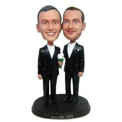 Custom Bobbleheads custom gay wedding bobbleheads cake topper