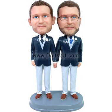 custom gay with tie wedding bobbleheads cake topper Bobbleheads
