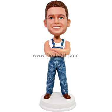 Male in suspender jeans Bobbleheads