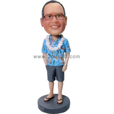 Personalized Male in Hawaiian Shirt Bobblhead Bobbleheads