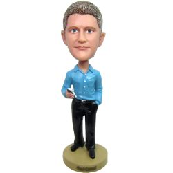 Custom Bobbleheads Casual Executive with Smart Phone bobblehead